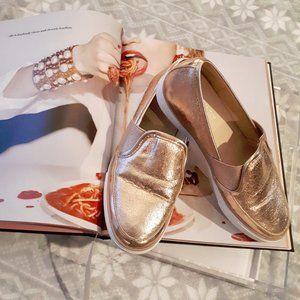 Nine West rose gold shiny slip on sneaker shoes 5½
